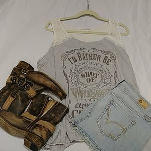 "Maurices Lace & Gray Tank ""I'd rather be..."""